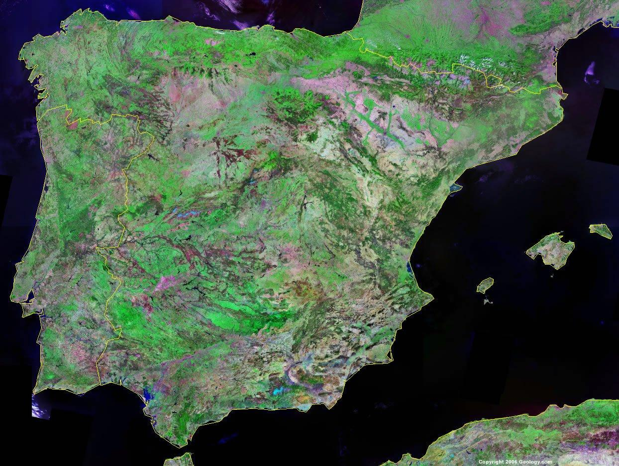 Spania Harta Prin Satelit Harta Spania Prin Satelit Europa De