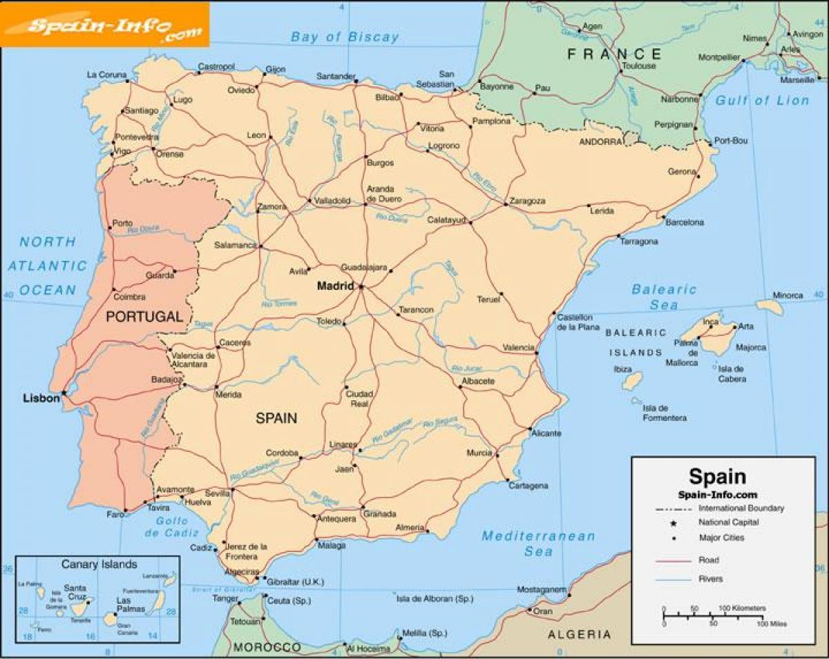 Gratuit De Tipărit Harta Spaniei A Tipărit Harta Spaniei Cu