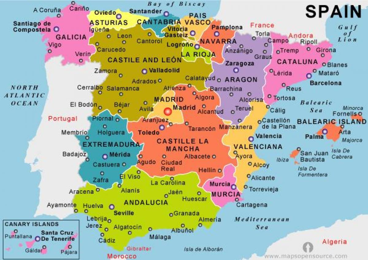 Harta Spaniei Statiuni De Vacanta Harta Spania Continentală