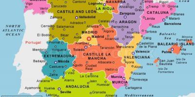 Harta Spaniei Regiunile Detaliată Hartă De Spania Cu Regiuni